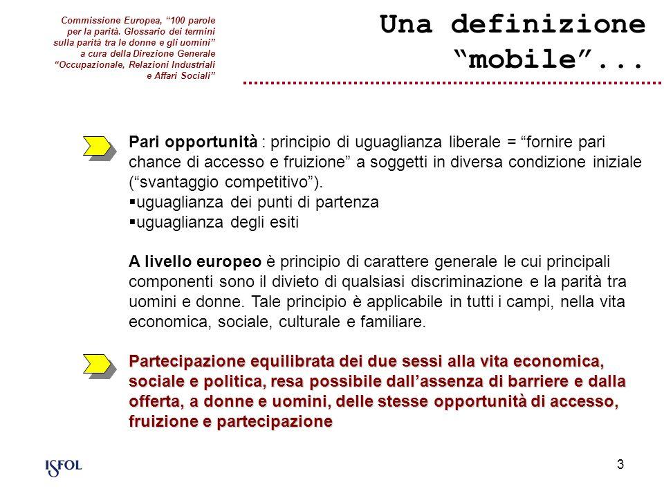 3 Una definizione mobile... Pari opportunità : principio di uguaglianza liberale = fornire pari chance di accesso e fruizione a soggetti in diversa co