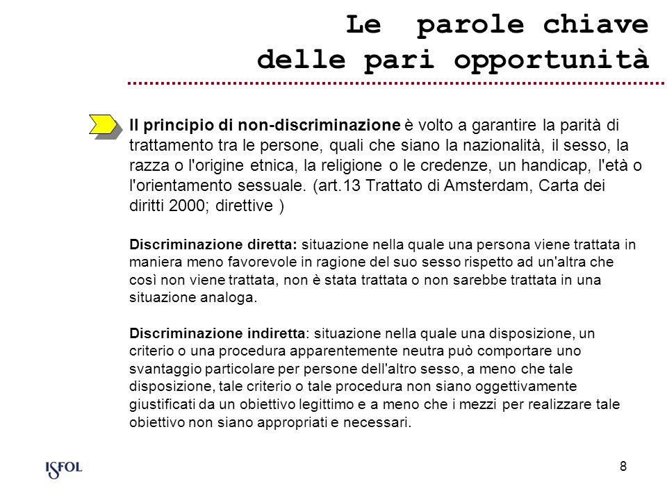 8 Le parole chiave delle pari opportunità Il principio di non-discriminazione è volto a garantire la parità di trattamento tra le persone, quali che s