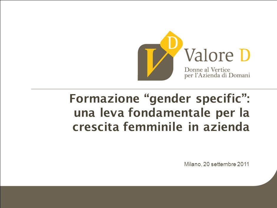 MIL-ZWI460-20092011-18111/LR Formazione gender specific: una leva fondamentale per la crescita femminile in azienda Milano, 20 settembre 2011