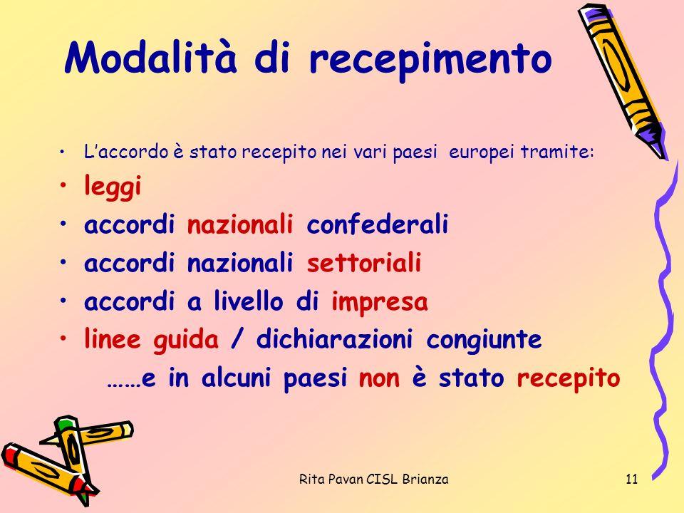 Rita Pavan CISL Brianza11 Modalità di recepimento Laccordo è stato recepito nei vari paesi europei tramite: leggi accordi nazionali confederali accord