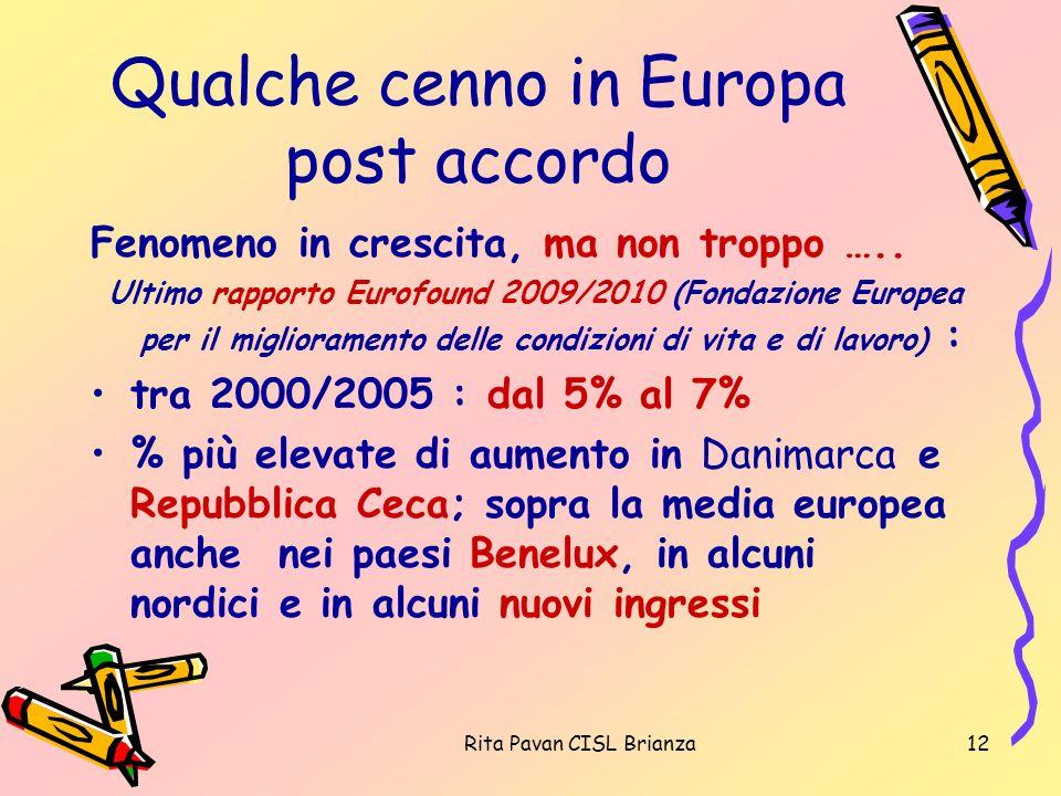 Rita Pavan CISL Brianza12 Qualche cenno in Europa post accordo Fenomeno in crescita, ma non troppo ….. Ultimo rapporto Eurofound 2009/2010 (Fondazione