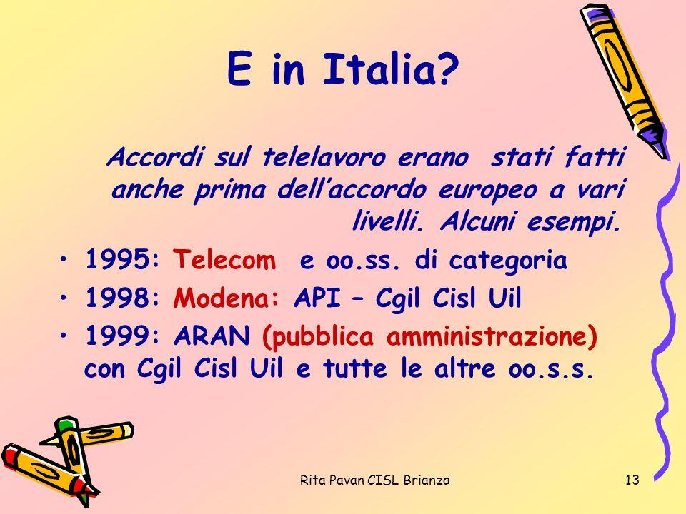 Rita Pavan CISL Brianza13 E in Italia? Accordi sul telelavoro erano stati fatti anche prima dellaccordo europeo a vari livelli. Alcuni esempi. 1995: T