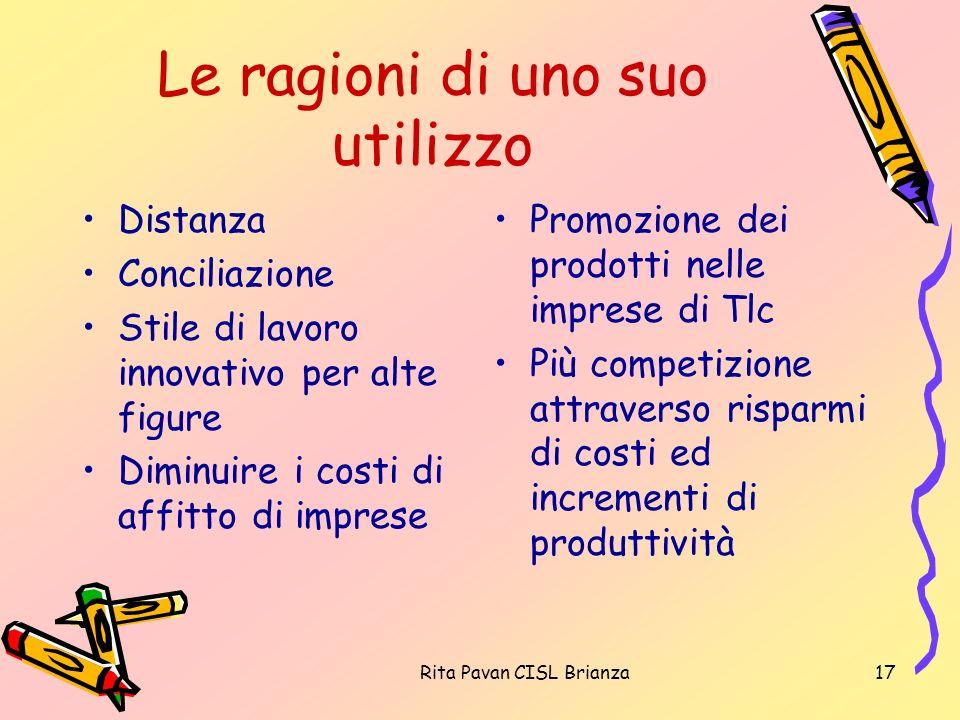 Rita Pavan CISL Brianza17 Le ragioni di uno suo utilizzo Distanza Conciliazione Stile di lavoro innovativo per alte figure Diminuire i costi di affitt