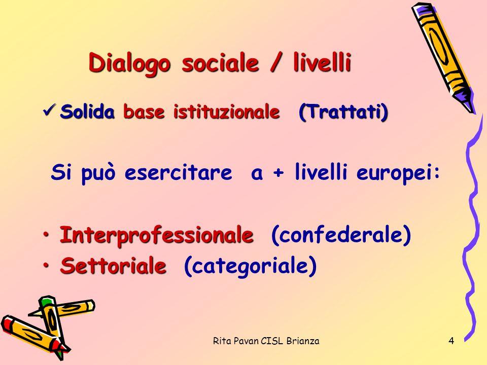 Rita Pavan CISL Brianza4 Dialogo sociale / livelli Solida base istituzionale (Trattati) Solida base istituzionale (Trattati) Si può esercitare a + liv
