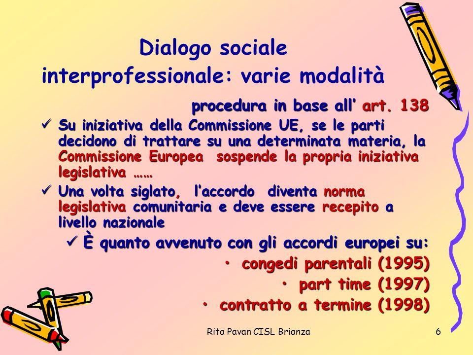 Rita Pavan CISL Brianza6 Dialogo sociale interprofessionale: varie modalità procedura in base all art. 138 Su iniziativa della Commissione UE, se le p