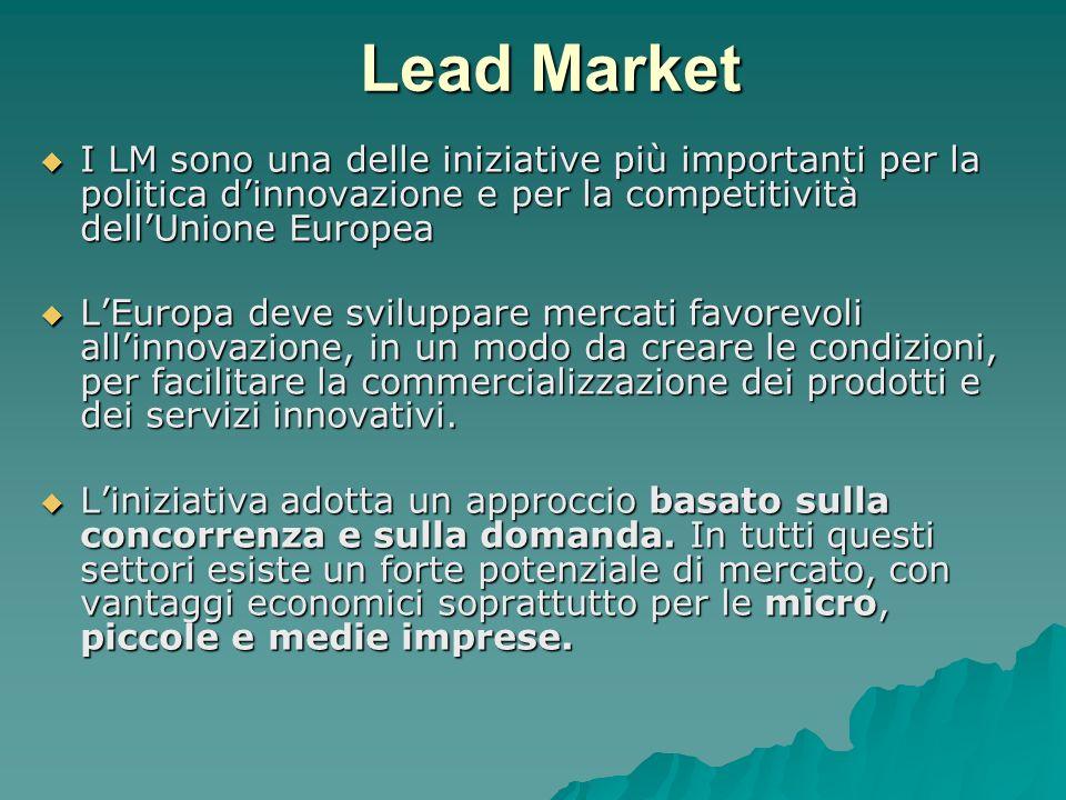 Lead Market I LM sono una delle iniziative più importanti per la politica dinnovazione e per la competitività dellUnione Europea I LM sono una delle iniziative più importanti per la politica dinnovazione e per la competitività dellUnione Europea LEuropa deve sviluppare mercati favorevoli allinnovazione, in un modo da creare le condizioni, per facilitare la commercializzazione dei prodotti e dei servizi innovativi.
