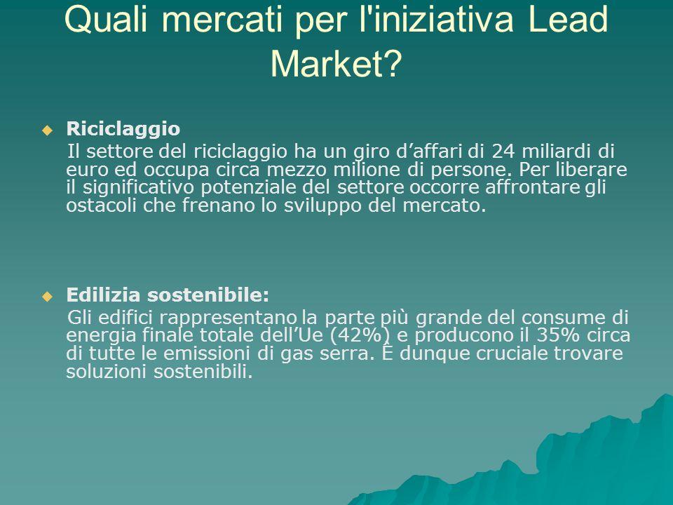 Quali mercati per l iniziativa Lead Market.