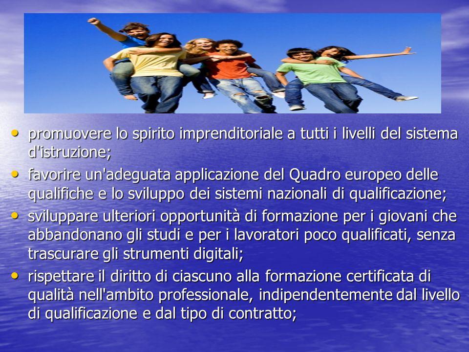promuovere lo spirito imprenditoriale a tutti i livelli del sistema d'istruzione; promuovere lo spirito imprenditoriale a tutti i livelli del sistema