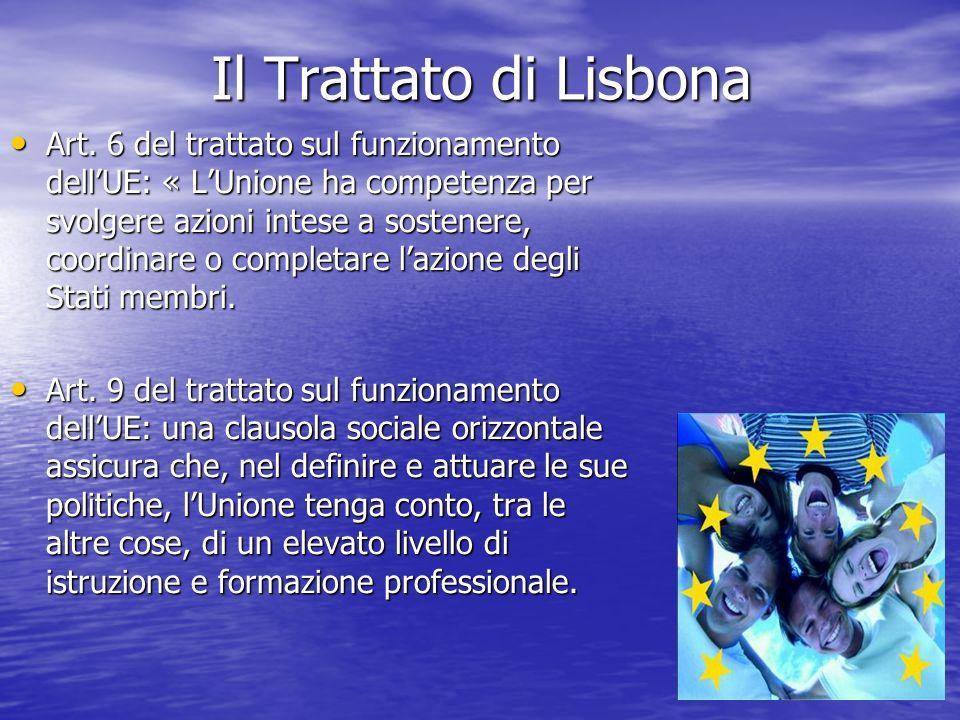 Il Trattato di Lisbona Art. 6 del trattato sul funzionamento dellUE: « LUnione ha competenza per svolgere azioni intese a sostenere, coordinare o comp