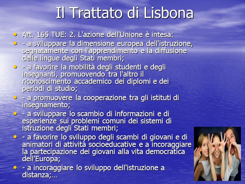 Il Trattato di Lisbona Art. 165 TUE: 2. L'azione dell'Unione è intesa: Art. 165 TUE: 2. L'azione dell'Unione è intesa: - a sviluppare la dimensione eu