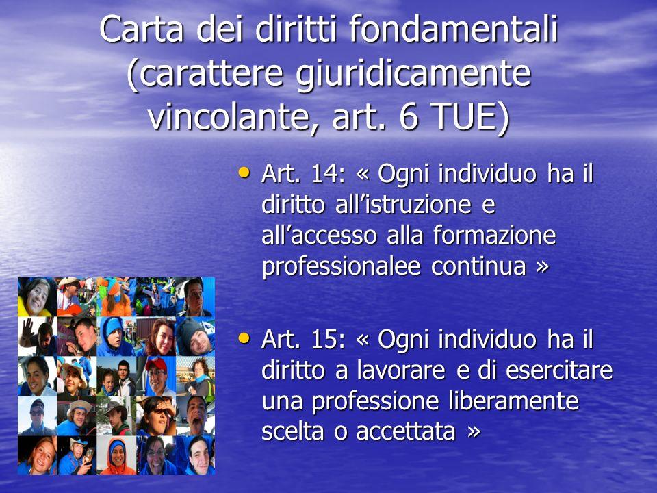 Carta dei diritti fondamentali (carattere giuridicamente vincolante, art. 6 TUE) Art. 14: « Ogni individuo ha il diritto allistruzione e allaccesso al