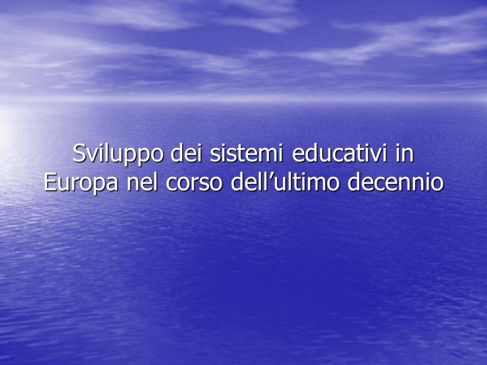 Sviluppo dei sistemi educativi in Europa nel corso dellultimo decennio