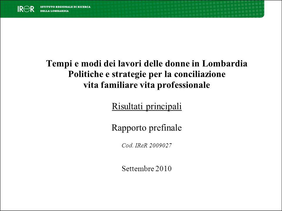 Parte terza Analisi delle politiche regionali che incidono sulla conciliazione dei tempi (atti normativi e strumenti)