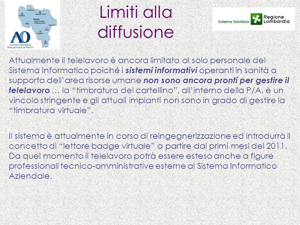 Limiti alla diffusione Attualmente il telelavoro è ancora limitato al solo personale del Sistema Informatico poiché i sistemi informativi operanti in