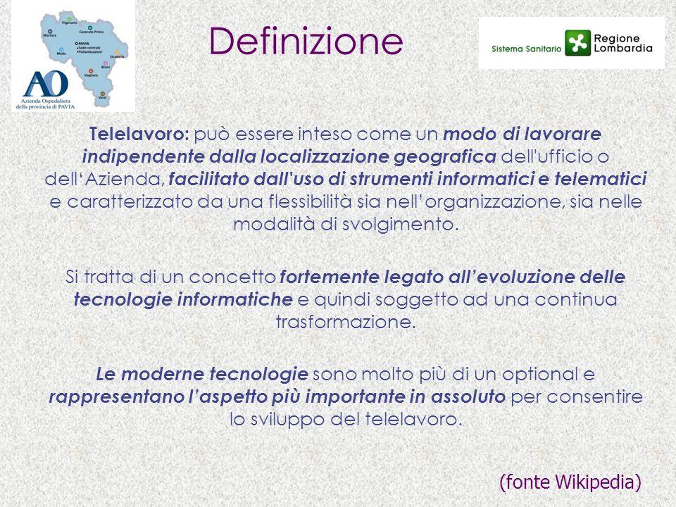 Definizione Telelavoro: può essere inteso come un modo di lavorare indipendente dalla localizzazione geografica dell'ufficio o dellAzienda, facilitato