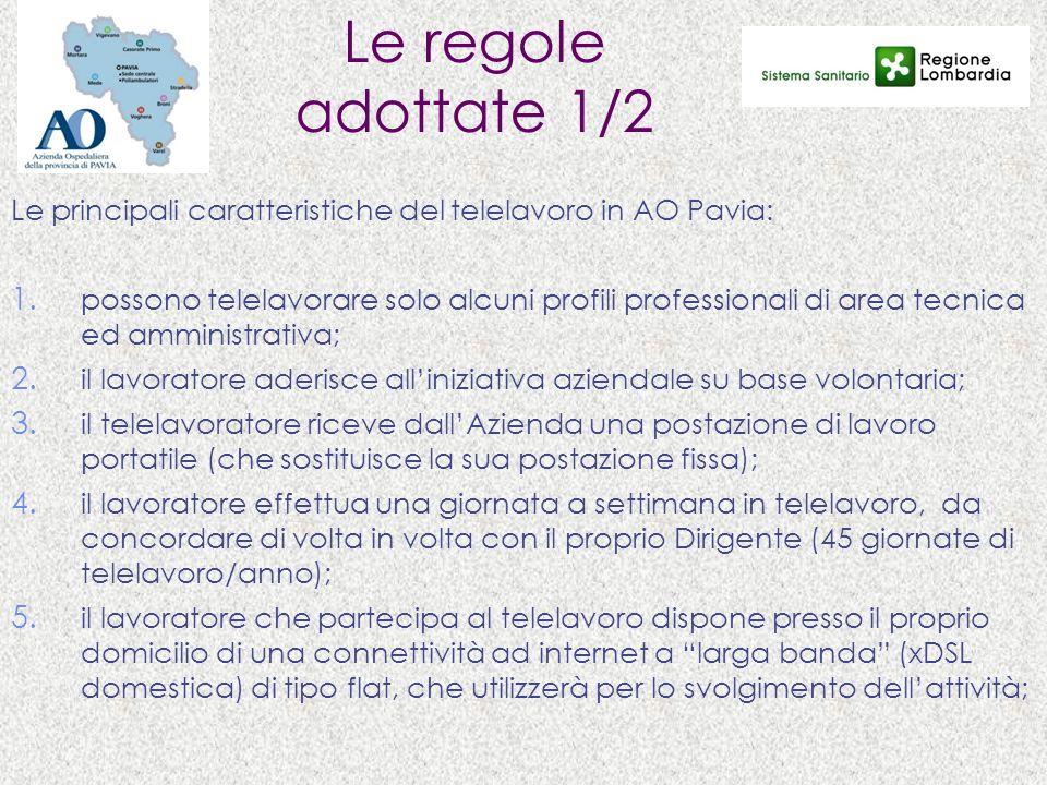 Le regole adottate 1/2 Le principali caratteristiche del telelavoro in AO Pavia: 1. possono telelavorare solo alcuni profili professionali di area tec
