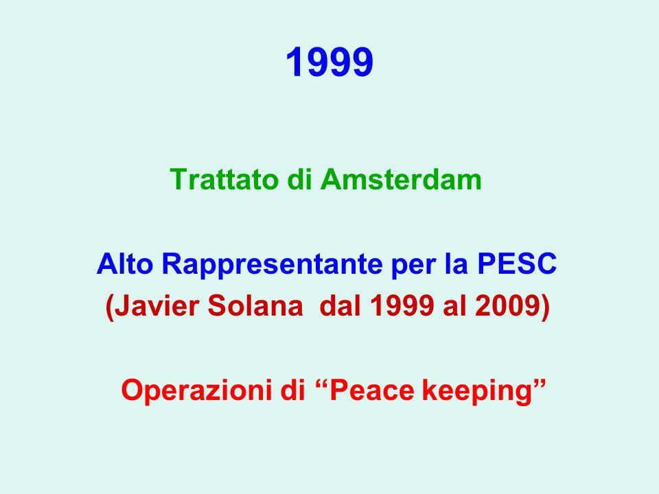 1999 Trattato di Amsterdam Alto Rappresentante per la PESC (Javier Solana dal 1999 al 2009) Operazioni di Peace keeping