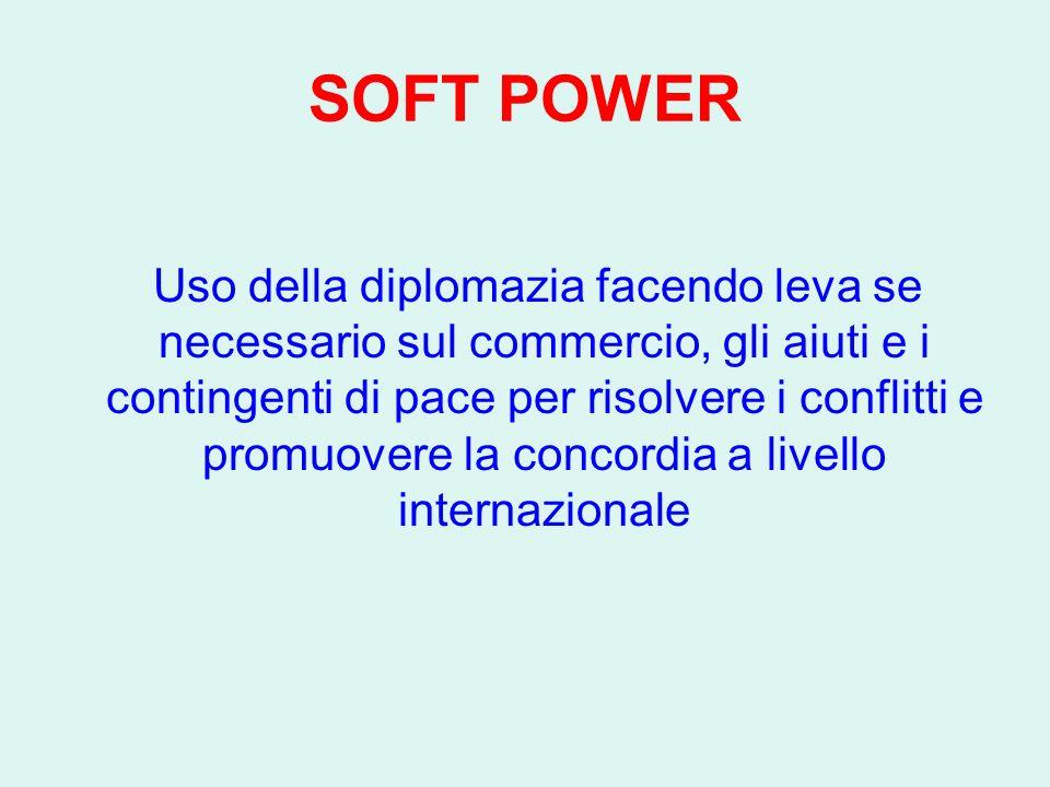 SOFT POWER Uso della diplomazia facendo leva se necessario sul commercio, gli aiuti e i contingenti di pace per risolvere i conflitti e promuovere la concordia a livello internazionale