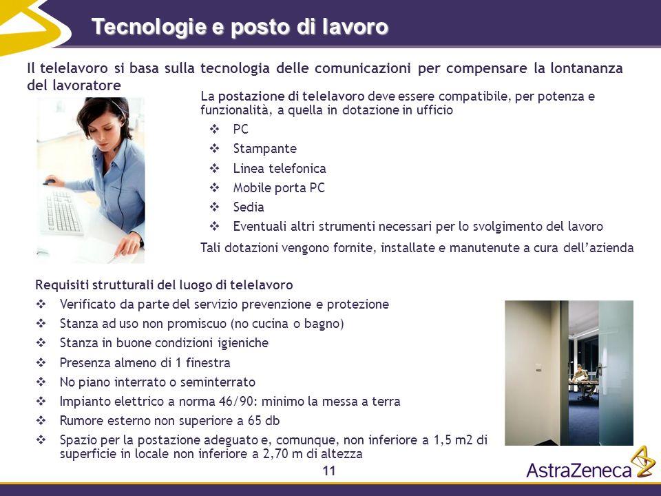 11 Tecnologie e posto di lavoro La postazione di telelavoro deve essere compatibile, per potenza e funzionalità, a quella in dotazione in ufficio PC S