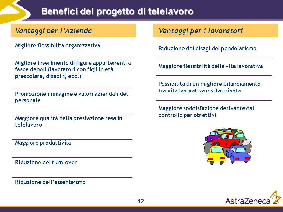 12 Benefici del progetto di telelavoro Vantaggi per lAzienda Migliore flessibilità organizzativa Migliore inserimento di figure appartenenti a fasce d