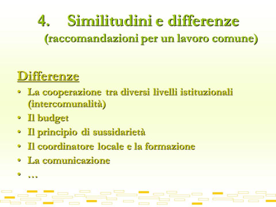 4. Similitudini e differenze (raccomandazioni per un lavoro comune) Differenze La cooperazione tra diversi livelli istituzionali (intercomunalità)La c