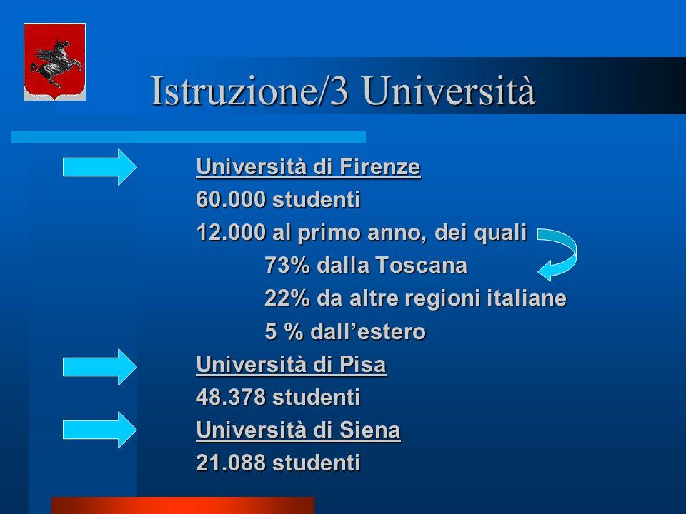 Istruzione/3 Università Università di Firenze 60.000 studenti 12.000 al primo anno, dei quali 73% dalla Toscana 73% dalla Toscana 22% da altre regioni