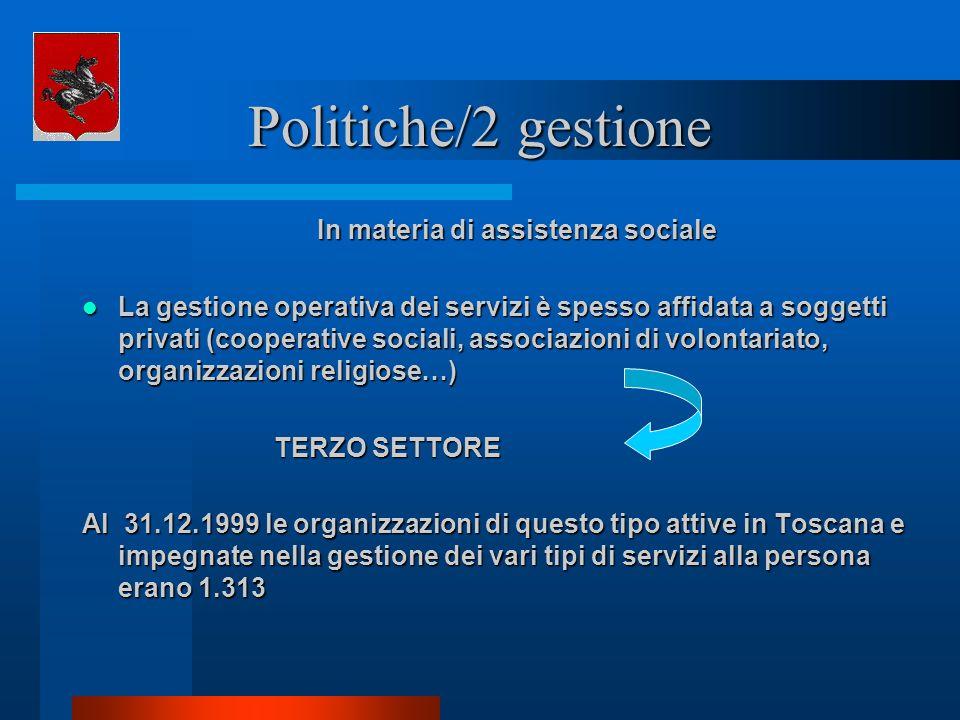 Politiche/2 gestione In materia di assistenza sociale La gestione operativa dei servizi è spesso affidata a soggetti privati (cooperative sociali, ass