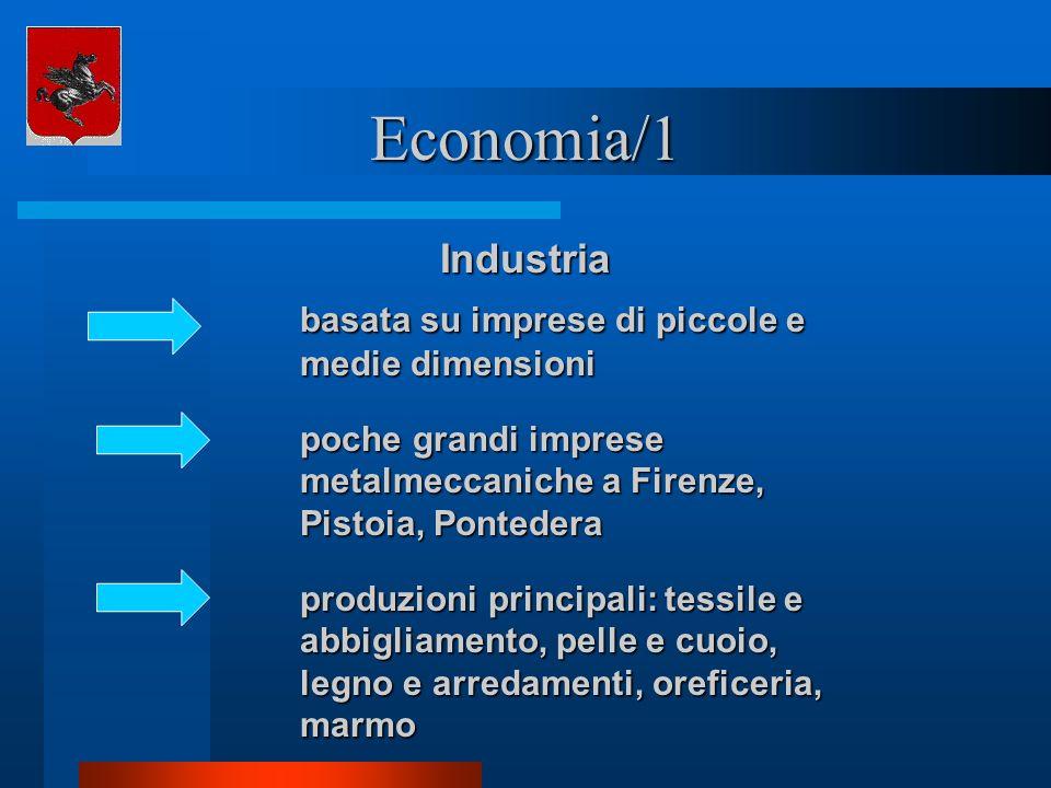 Economia/1 Industria basata su imprese di piccole e medie dimensioni poche grandi imprese metalmeccaniche a Firenze, Pistoia, Pontedera produzioni pri