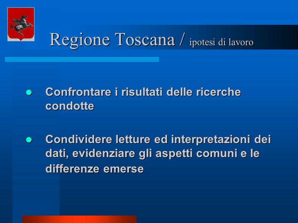 Regione Toscana / ipotesi di lavoro Regione Toscana / ipotesi di lavoro Confrontare i risultati delle ricerche condotte Confrontare i risultati delle