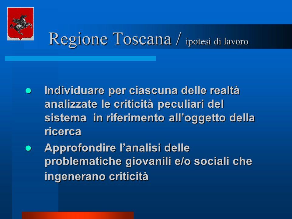 Regione Toscana / ipotesi di lavoro Regione Toscana / ipotesi di lavoro Individuare per ciascuna delle realtà analizzate le criticità peculiari del si