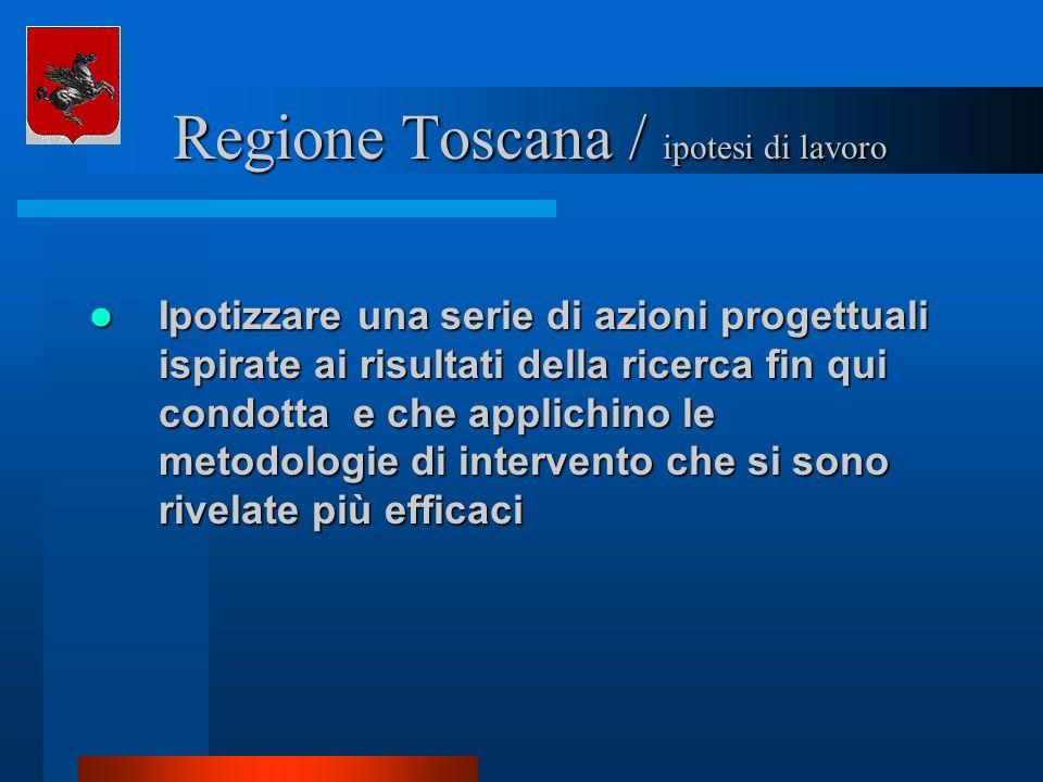 Regione Toscana / ipotesi di lavoro Regione Toscana / ipotesi di lavoro Ipotizzare una serie di azioni progettuali ispirate ai risultati della ricerca