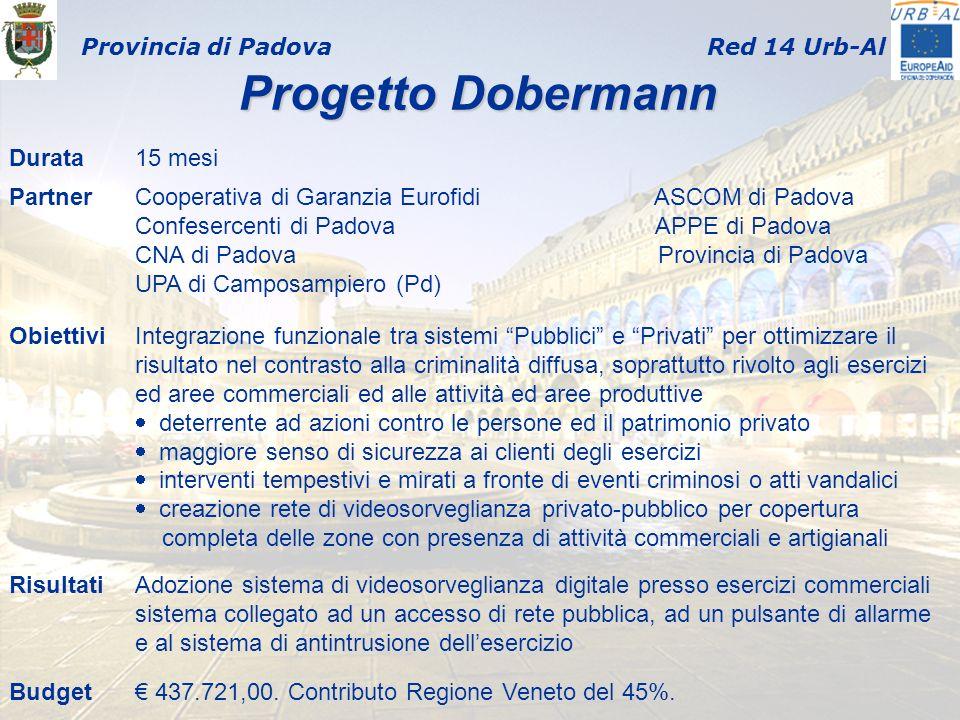 Provincia di PadovaRed 14 Urb-Al Progetto Dobermann Progetto Dobermann Durata15 mesi PartnerCooperativa di Garanzia Eurofidi ASCOM di Padova Confeserc