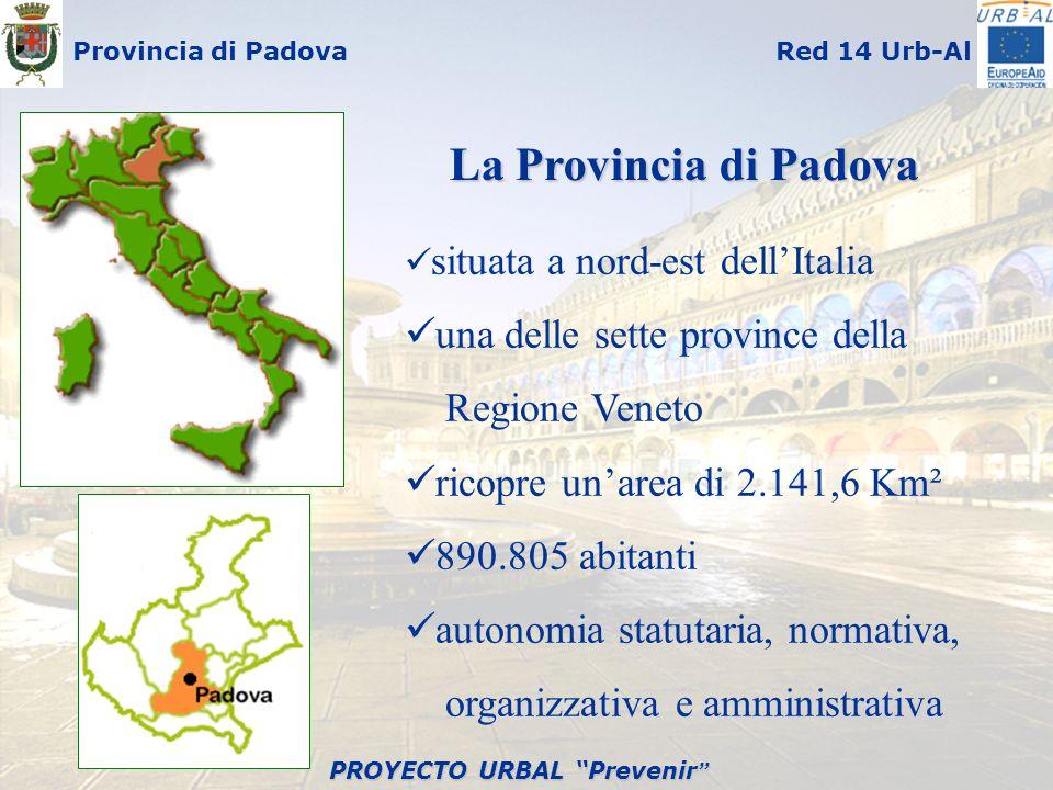 PROYECTO URBAL Prevenir PROYECTO URBAL Prevenir Provincia di PadovaRed 14 Urb-Al situata a nord-est dellItalia una delle sette province della Regione