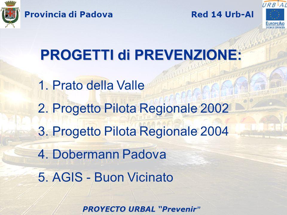 Provincia di PadovaRed 14 Urb-Al PROGETTI di PREVENZIONE: 1.Prato della Valle 2.Progetto Pilota Regionale 2002 3.Progetto Pilota Regionale 2004 4.Dobe