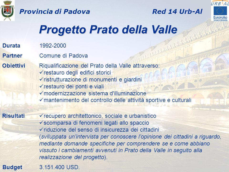 Provincia di PadovaRed 14 Urb-Al Durata1992-2000 PartnerComune di Padova ObiettiviRiqualificazione del Prato della Valle attraverso: restauro degli ed