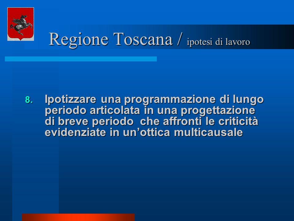 Regione Toscana / ipotesi di lavoro Regione Toscana / ipotesi di lavoro 8. Ipotizzare una programmazione di lungo periodo articolata in una progettazi