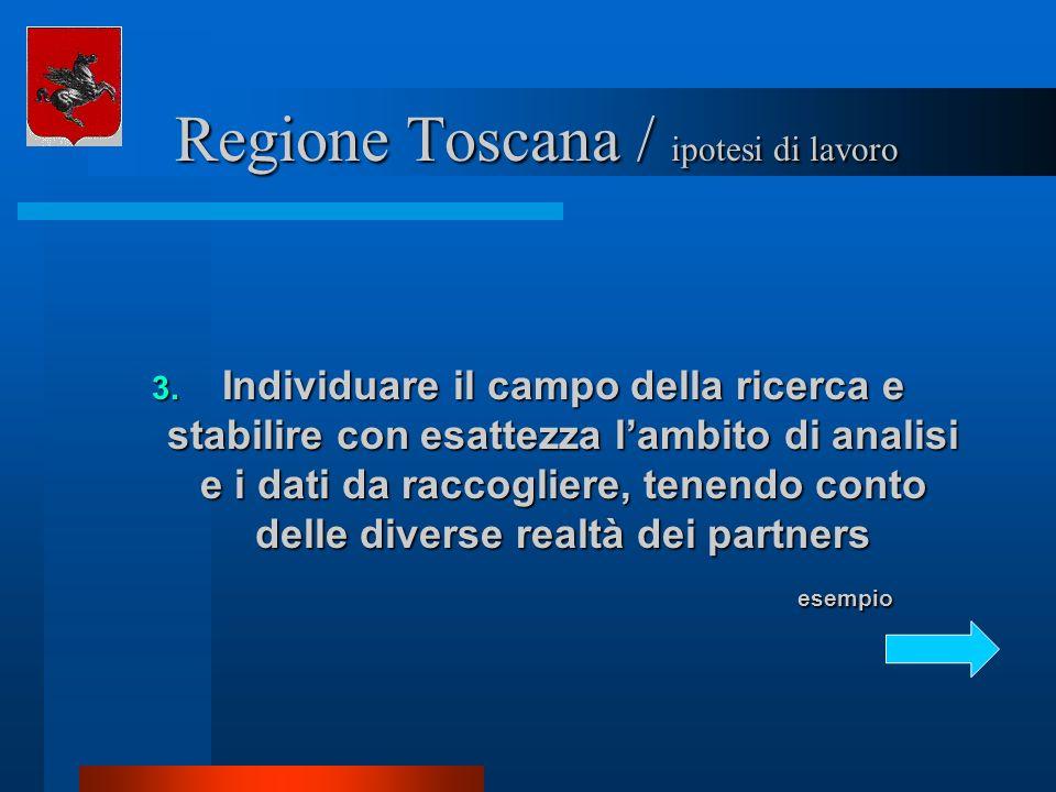 Regione Toscana / ipotesi di lavoro Regione Toscana / ipotesi di lavoro 3. Individuare il campo della ricerca e stabilire con esattezza lambito di ana