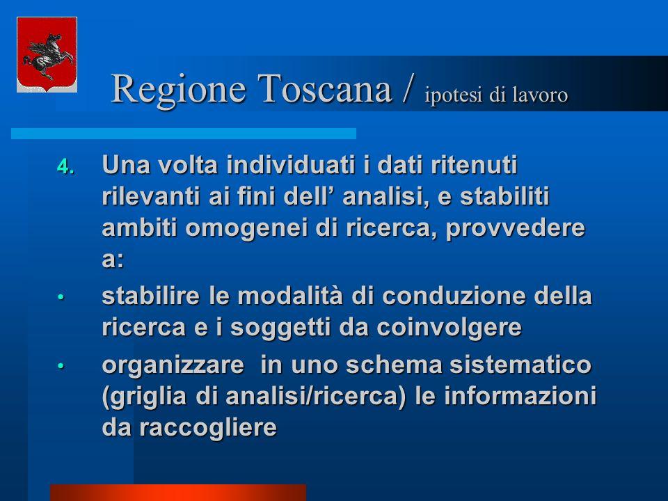 Regione Toscana / ipotesi di lavoro Regione Toscana / ipotesi di lavoro 4. Una volta individuati i dati ritenuti rilevanti ai fini dell analisi, e sta