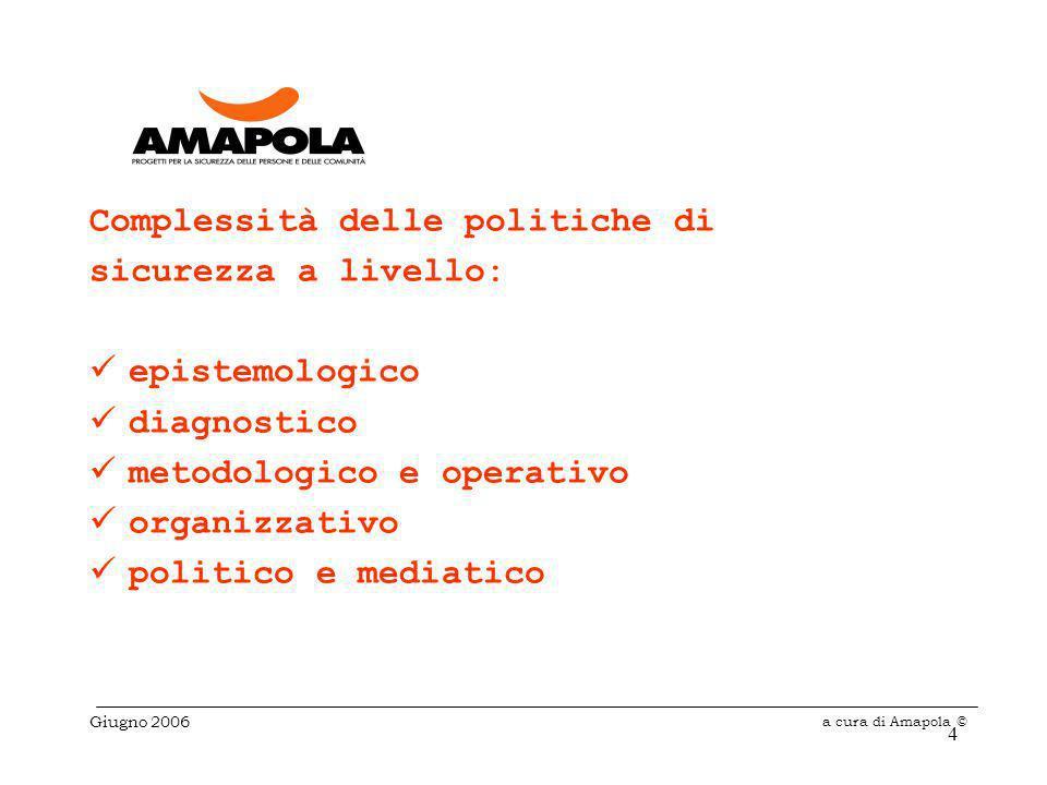 4 Complessità delle politiche di sicurezza a livello: epistemologico diagnostico metodologico e operativo organizzativo politico e mediatico Giugno 2006 a cura di Amapola ©
