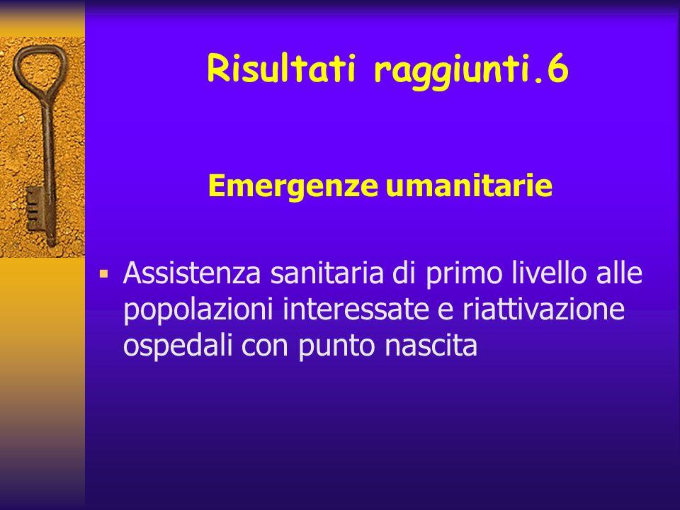 Risultati raggiunti.6 Emergenze umanitarie Assistenza sanitaria di primo livello alle popolazioni interessate e riattivazione ospedali con punto nasci