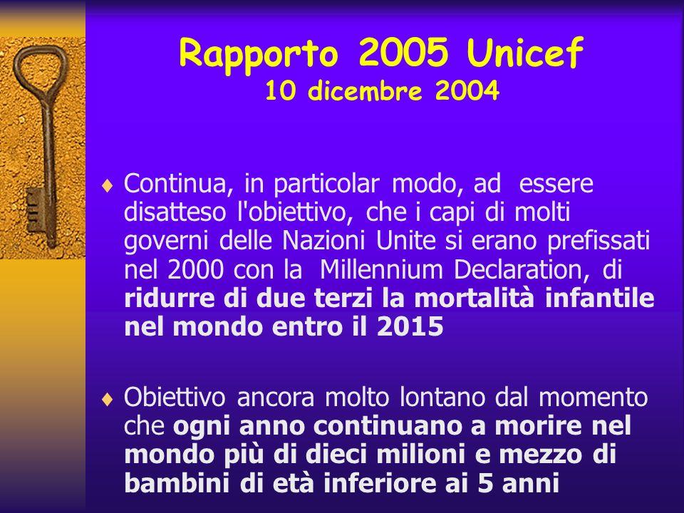 Rapporto 2005 Unicef 10 dicembre 2004 Continua, in particolar modo, ad essere disatteso l'obiettivo, che i capi di molti governi delle Nazioni Unite s