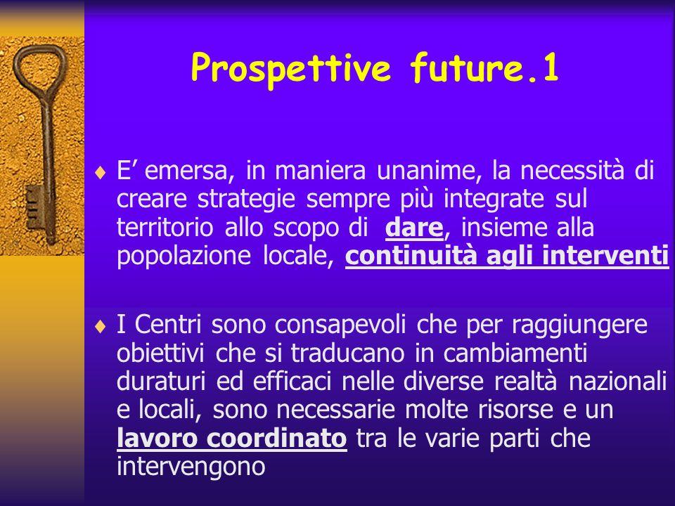 Prospettive future.1 E emersa, in maniera unanime, la necessità di creare strategie sempre più integrate sul territorio allo scopo di dare, insieme al