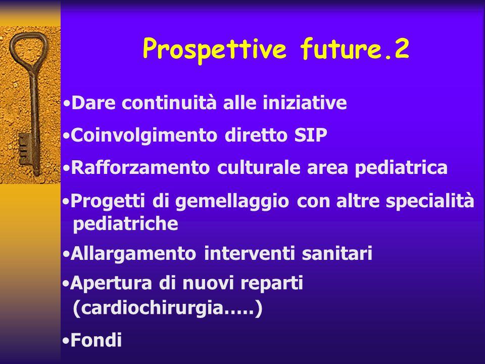 Prospettive future.2 Dare continuità alle iniziative Coinvolgimento diretto SIP Rafforzamento culturale area pediatrica Progetti di gemellaggio con al