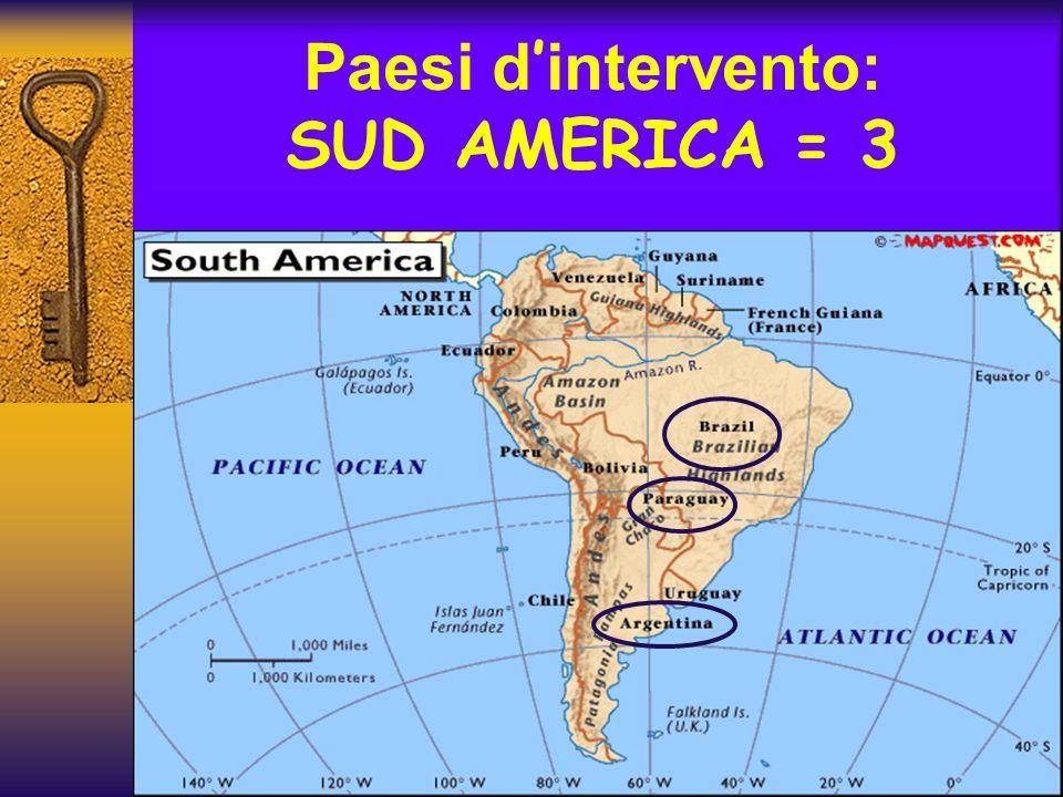 Paesi d intervento: SUD AMERICA = 3