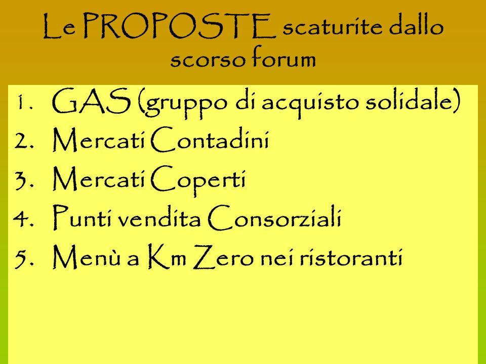 2 1. GAS (gruppo di acquisto solidale) 2. Mercati Contadini 3.