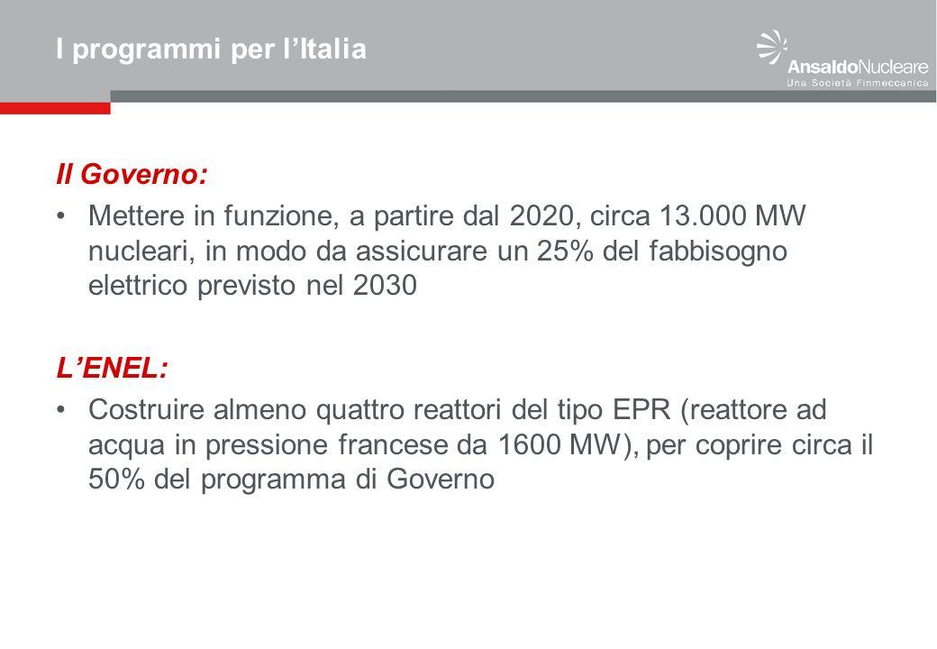 I programmi per lItalia Il Governo: Mettere in funzione, a partire dal 2020, circa 13.000 MW nucleari, in modo da assicurare un 25% del fabbisogno ele
