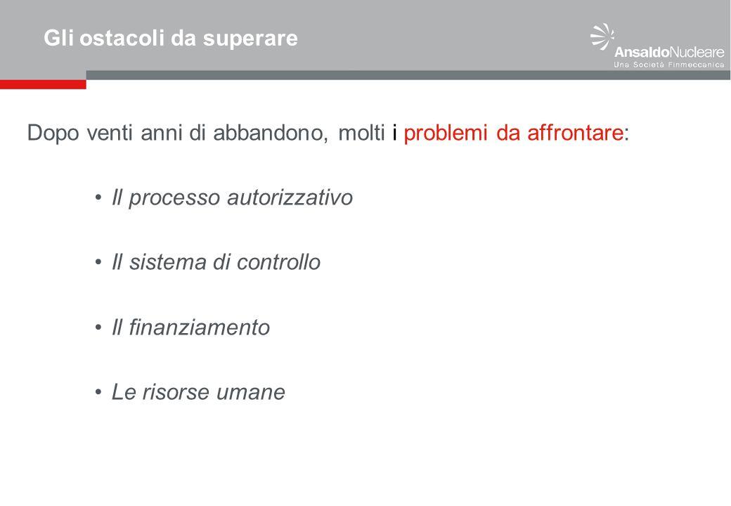 Gli ostacoli da superare Dopo venti anni di abbandono, molti i problemi da affrontare: Il processo autorizzativo Il sistema di controllo Il finanziame