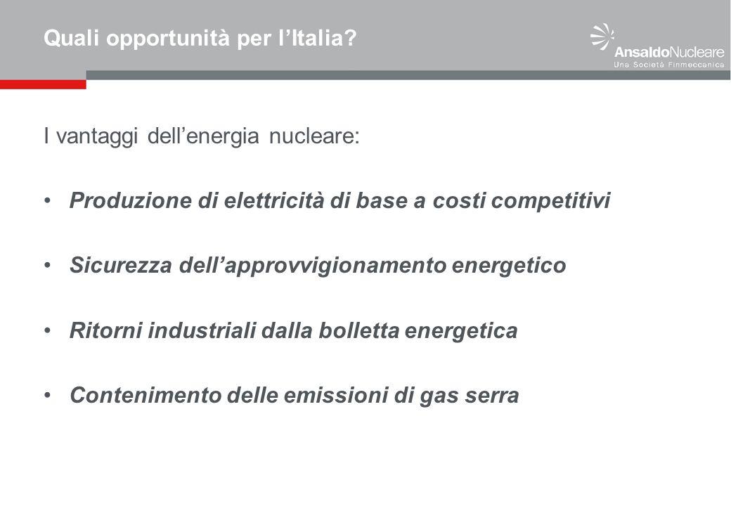 Quali opportunità per lItalia? I vantaggi dellenergia nucleare: Produzione di elettricità di base a costi competitivi Sicurezza dellapprovvigionamento