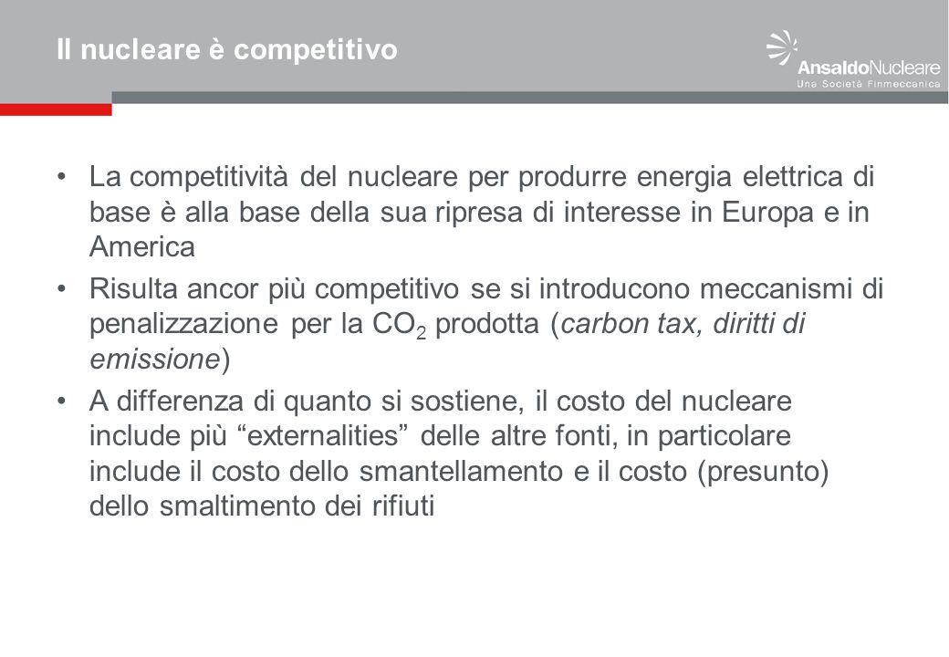 Il nucleare è competitivo La competitività del nucleare per produrre energia elettrica di base è alla base della sua ripresa di interesse in Europa e