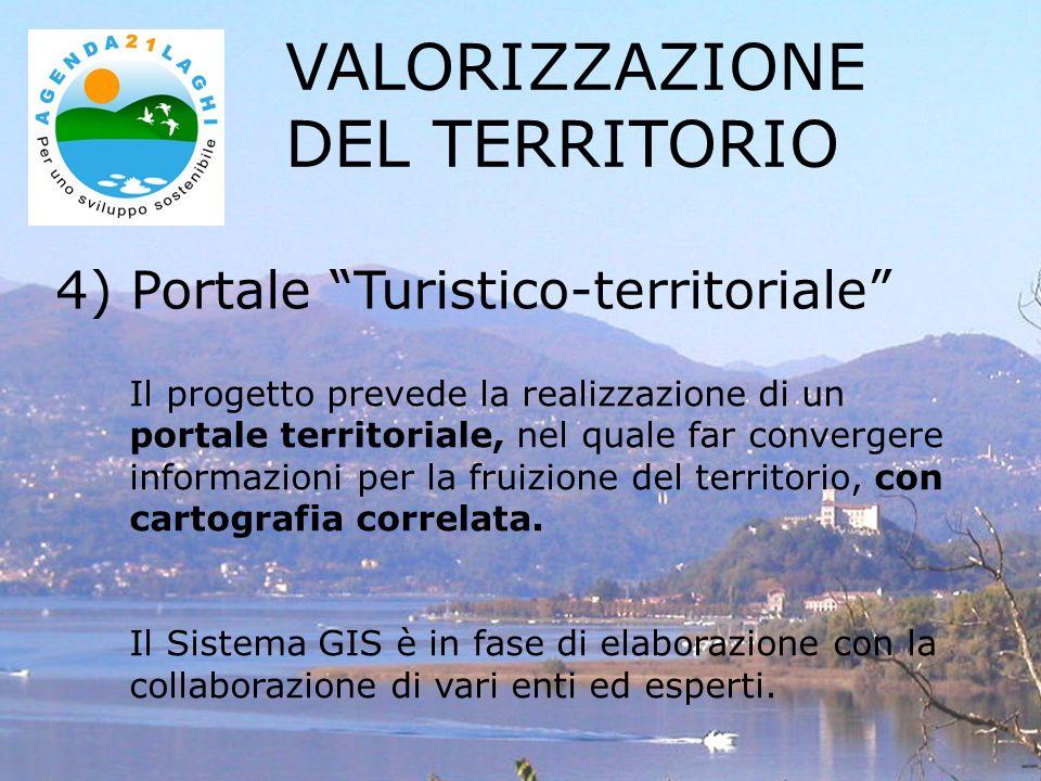 4) Portale Turistico-territoriale VALORIZZAZIONE DEL TERRITORIO Il progetto prevede la realizzazione di un portale territoriale, nel quale far convergere informazioni per la fruizione del territorio, con cartografia correlata.